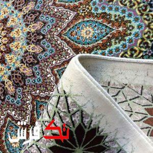 فرش گل برجسته دیبا 1000 شانه طرح فلورنس زمینه کرم