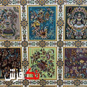 فرش گل برجسته دیبا 1000 شانه طرح فرح زمینه کرم