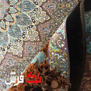 فرش گل برجسته دیبا 1000 شانه طرح لوتوس زمینه مسی