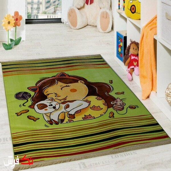 فرش کلاریس کلکسیون عروسکی اتاق کودک طرح دختر و گربه