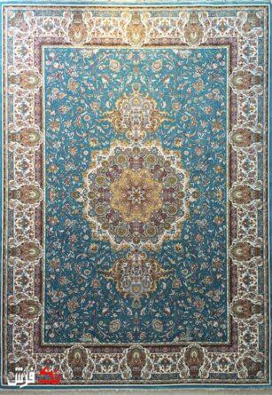 فرش گل برجسته دیبا 1000 شانه طرح روشه زمینه آبی