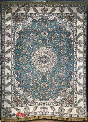 فرش محتشم 1000 شانه گل برجسته طرح اختر اطلسی