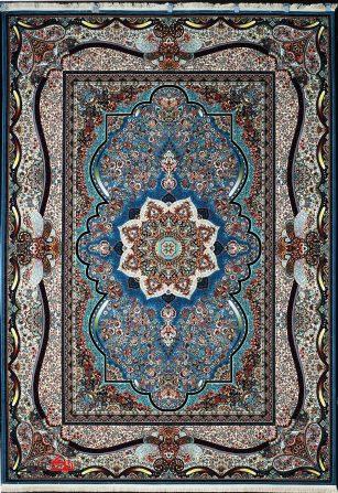 فرش ماشینی ابریشم گونه 700 شانه طرح نگار سرمه ای