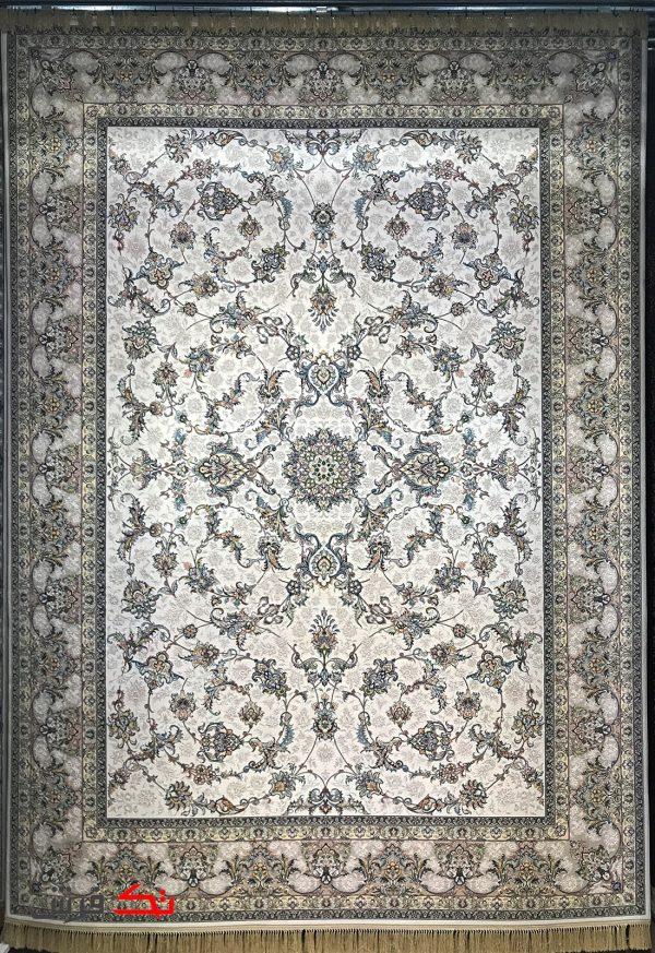 فرش محتشم 1000 شانه گل برجسته طرح کیهان کرم