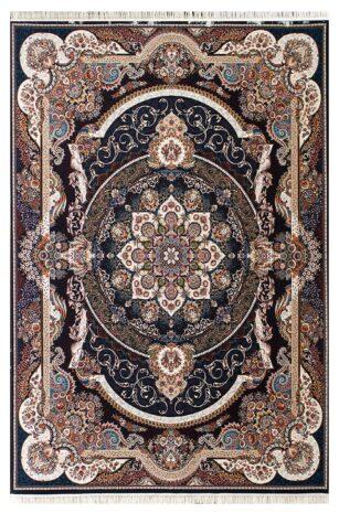 فرش ماشینی طرح مانا زمینه سرمه ای