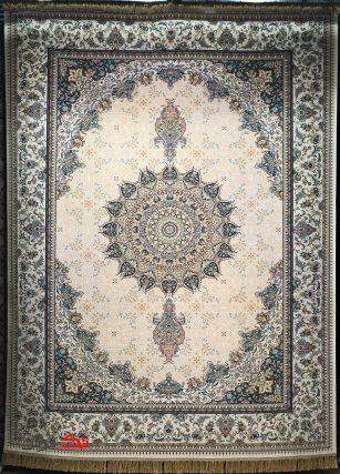 فرش محتشم 1000 شانه گل برجسته طرح آسمان کرم