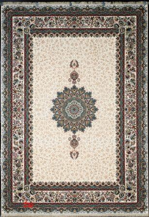 فرش ماشینی ابریشم گونه 700 شانه طرح ارگ کرم