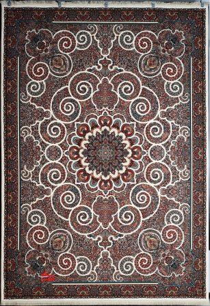 فرش ماشینی ابریشم گونه 700 شانه طرح میترا کرم