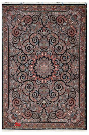 فرش ماشینی ابریشم گونه 700 شانه طرح میترا سرمه ای