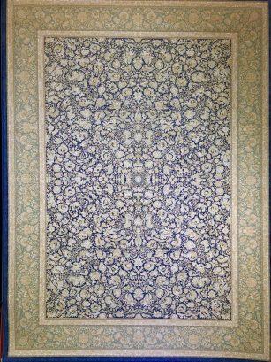 فرش ماشینی 1000 شانه محتشم طرح لاکچری زمینه آبی