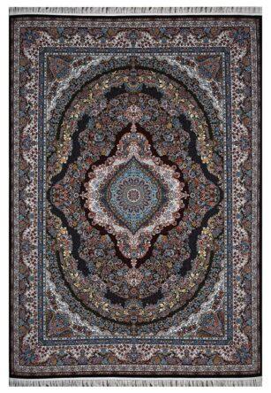 فرش ماشینی 1000 شانه محتشم طرح ماهرخ زمینه سرمه ای