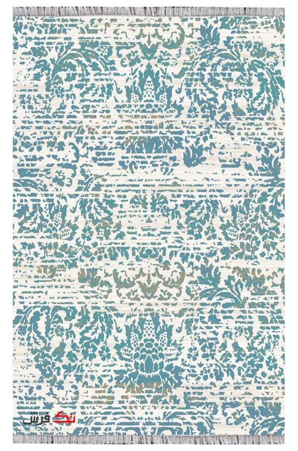 فرش کلاریس کلکسیون کهنه نما کد 100372 آبی