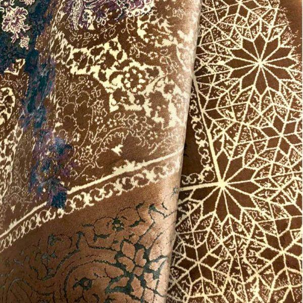 فرش گل برجسته دیبا 1000 شانه طرح درخشان زمینه تربتی