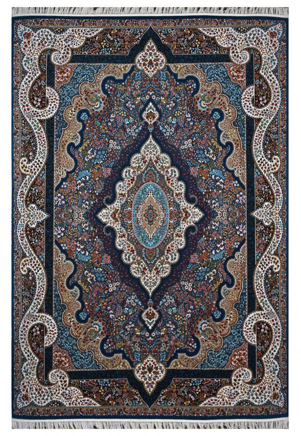 فرش ماشینی 1000 شانه محتشم طرح نگار زمینه آبی