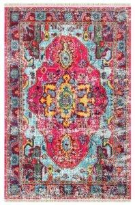 فرش ماشینی کلکسیون کهنه نما ( وینتیج ) کد Q00010 صورتی