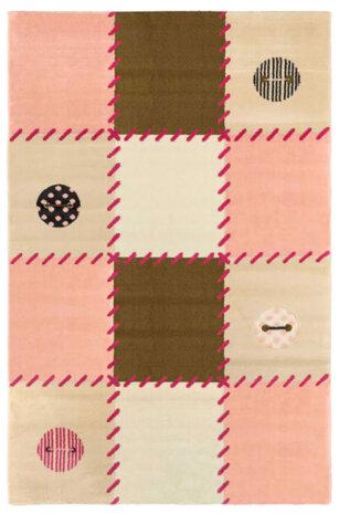 فرش ماشینی اتاق کودک طرح شطرنجی صورتی کد 0015