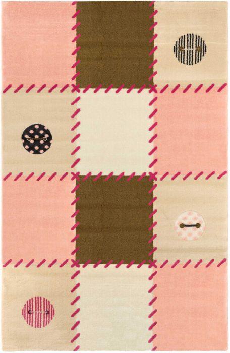 فرش ماشینی اتاق کودک طرح شظرنجی صورتی کد 0015