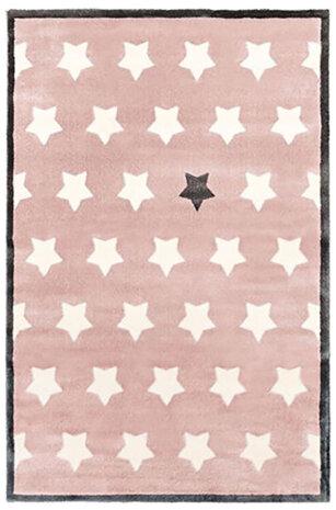 فرش ماشینی اتاق کودک طرح ستاره صورتی کد 0014