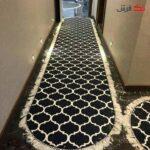 فرش ماشینی کناره بیضی مشکی کلکسیون فانتزی طرح QB2057 ( سایز دلخواه )