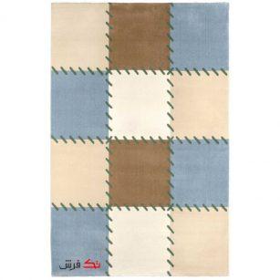 فرش ماشینی اتاق کودک طرح شظرنجی آبی کد 0016