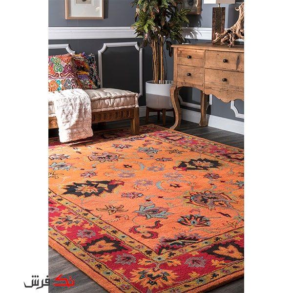 فرش ماشینی طرح فرش دستباف نقشه اصیل رنگ گلبهی کد 0008