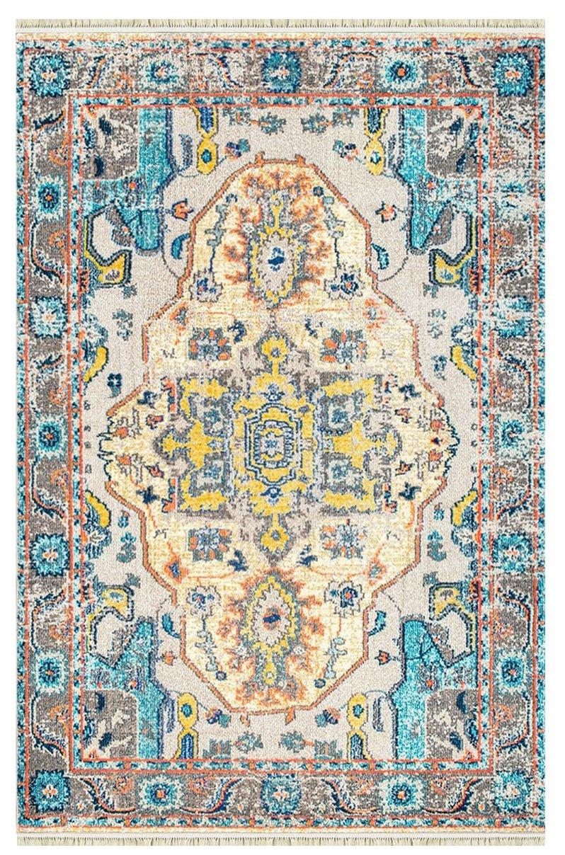 فرش ماشینی کلکسیون کهنه نما ( وینتیج ) کد Q00010 زرد