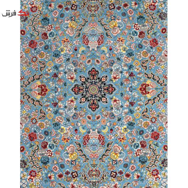 فرش ماشینی لیلی طرح رقص شکوفه ها فیروزه ای 1000 شانه تراکم 3000