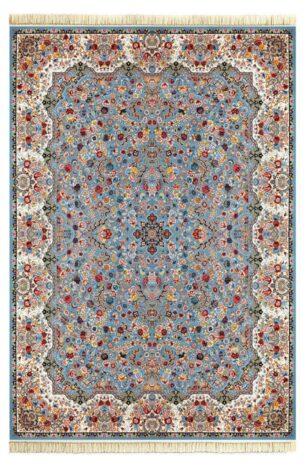 فرش ماشینی لیلی 1000 شانه تراکم 3000 طرح رقص شکوفه ها فیروزه ای