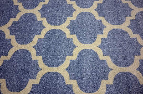 فرش ماشینی گرد کلکسیون فانتزی (مراکشی) کد 1000446 فیروزه ای