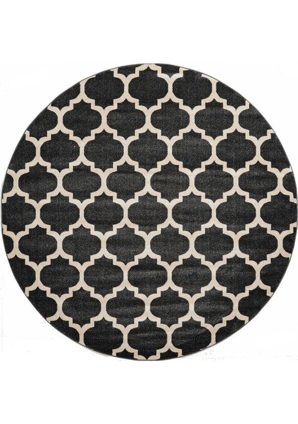 فرش ماشینی گرد کلکسیون فانتزی (مراکشی) کد 1000446 مشکی