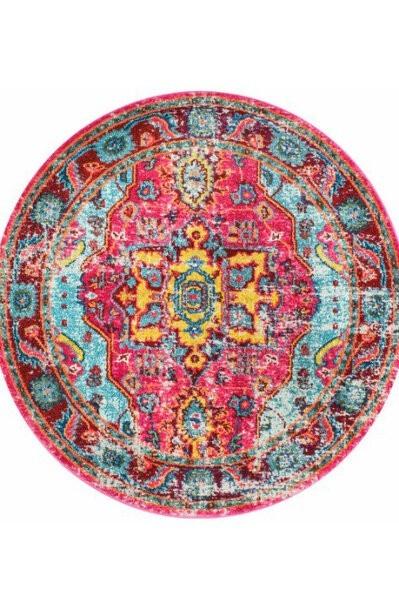 فرش ماشینی دایره کلکسیون کهنه نما کد Q00010 قرمز