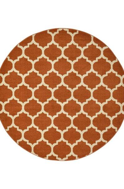 فرش ماشینی گرد کلکسیون فانتزی (مراکشی) کد 1000446 نارنجی