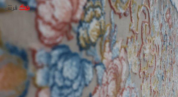 فرش طرح مرجان نسکافه ای 1200 شانه تراکم 3600 گل برجسته