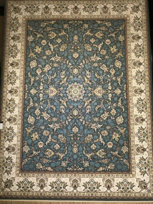 فرش ماشینی محتشم 1000 شانه تراکم 3000 گل برجسته طرح کیهان اطلسی