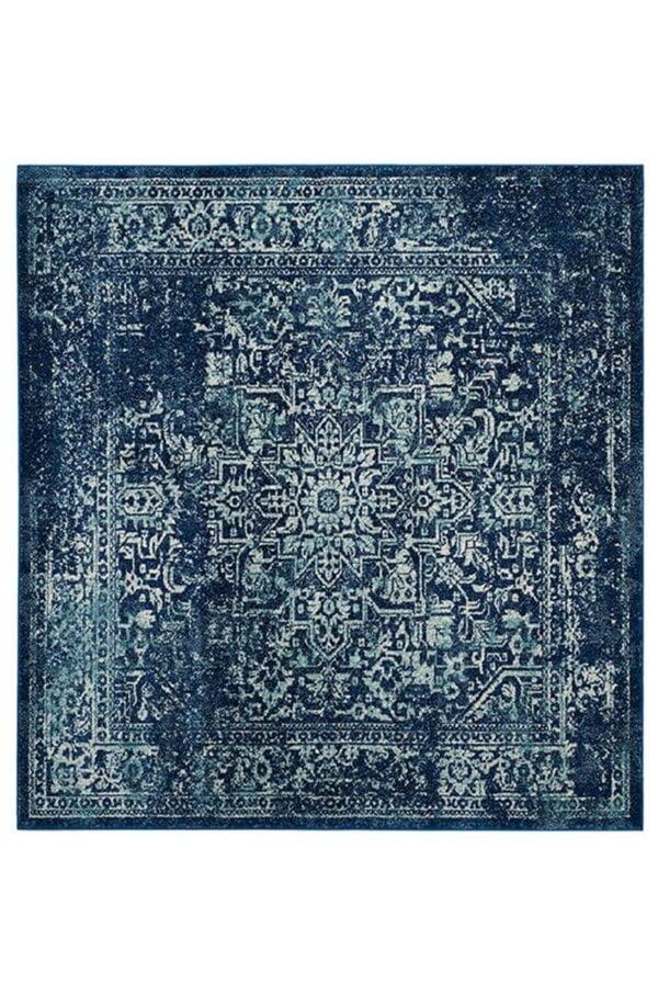 فرش ماشینی مربع کلکسیون فانتزی کهنه نما کد 1101 کاربنی