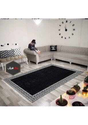 فرش فانتزی کلکسیون ورساچه کد V0015 رنگ مشکی , سفید