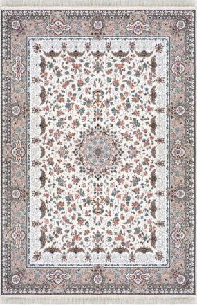 فرش ماشینی داریوش طرح 1305 سفید 1200 شانه تراکم 3600 برجسته