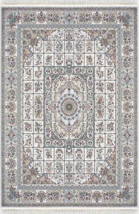 فرش ماشینی داریوش طرح 1310 سفید 1200 شانه تراکم 3600 برجسته