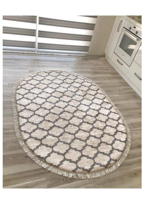 فرش بیضی کلکسیون فانتزی و مدرن کد B0015 سفید,قهوه ای