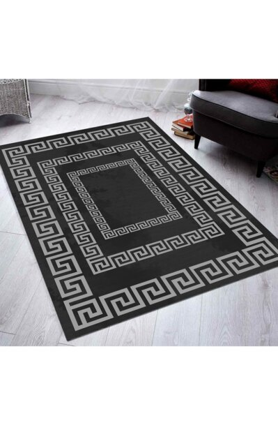 فرش فانتزی کلکسیون ورساچه کد V0013 رنگ مشکی , طوسی