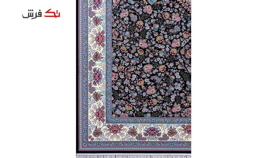 فرش ماشینی لیلی طرح افشان شاهان سرمه ای , 1000 شانه تراکم 3000