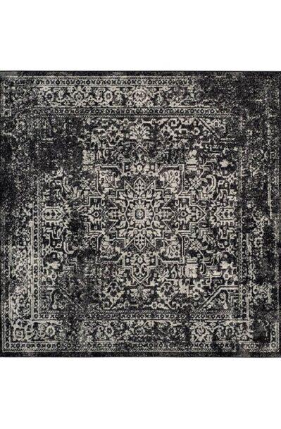 فرش ماشینی مربع کلکسیون فانتزی کهنه نما کد 1101 مشکی