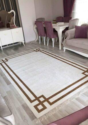 فرش فانتزی کلکسیون ورساچه کد V0016 رنگ سفید , قهوه ای
