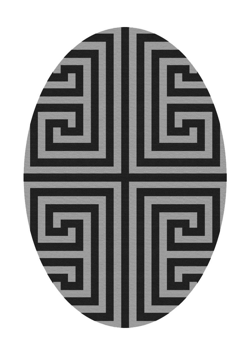 فرش بیضی کلکسیون ورساچه کد B0011 مشکی طوسی