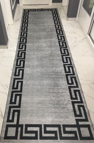 فرش ماشینی کناره طوسی کلکسیون فانتزی طرح QB2062 ( سایز دلخواه )