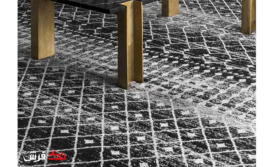 فرش ماشینی کلکسیون فانتزی طرح مراکشی کد 1108 مشکی