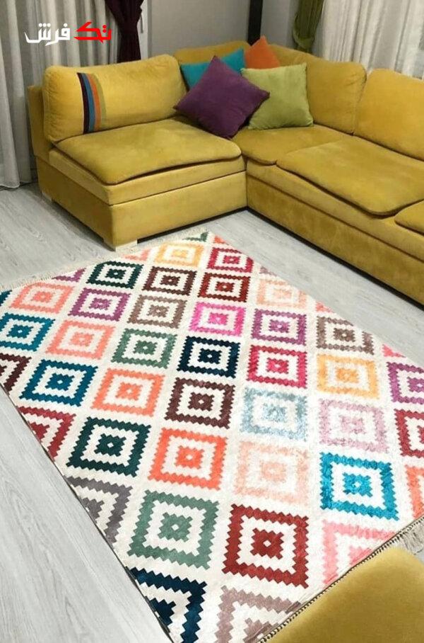 فرش فانتزی مدرن کلکسیون ترکیه کد 1107 چند رنگ