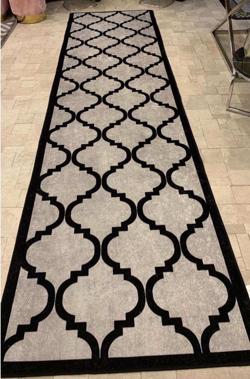 فرش ماشینی کناره طوسی,مشکی کلکسیون ورساچه طرح QB2075