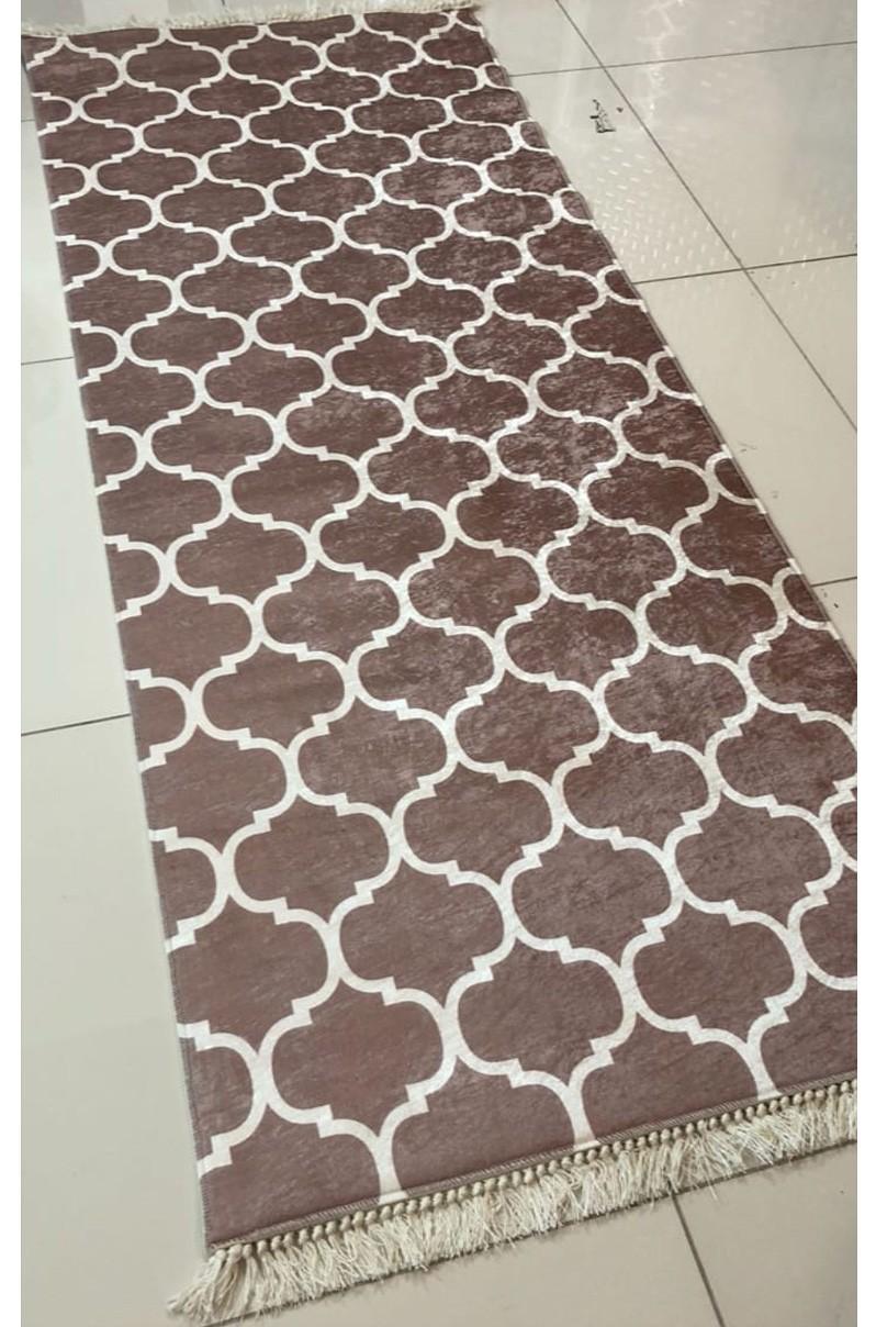فرش ماشینی کناره قهوه ای کلکسیون ورساچه طرح QB2075 ( سایز دلخواه )