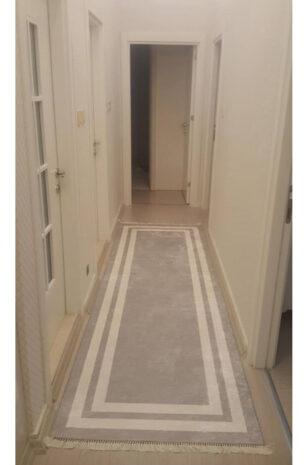 فرش ماشینی کناره طوسی کلکسیون ورساچه طرح QB2077 ( سایز دلخواه )